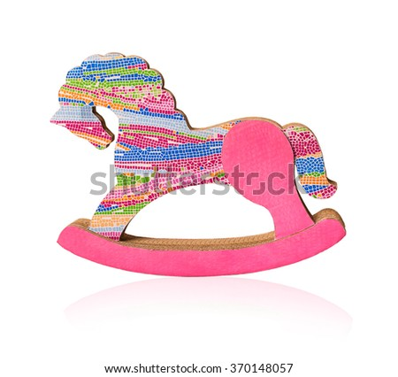 toy color rocking horse isolated on white background with clipping path - stock photo