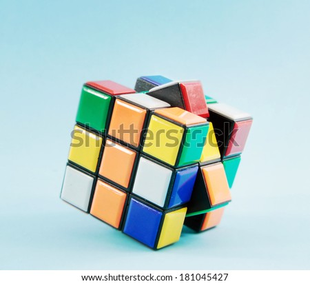 toy cube on with blue background  - stock photo