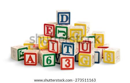 Toy, cube, wood. - stock photo