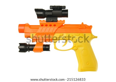 Toy gun isolated on white background - stock photo