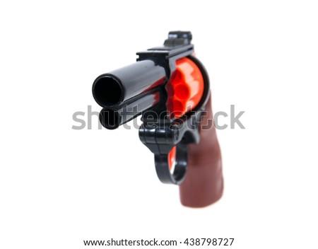 Toy hand gun isolated on white background.Toy gun.Plastic toy gun - stock photo