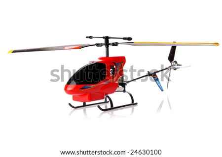 Toy helicopter over white background - stock photo