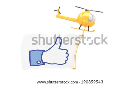 toy helicopter with like button sign for use in presentations, manuals, design, etc. - stock photo
