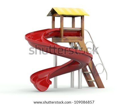 Toy hill  for the playground. 3D model isolated on white background - stock photo