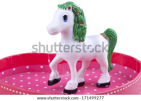 toy horse in the arena - stock photo
