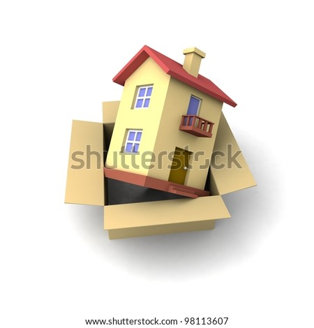 Toy house on the open box. 3d illustration. - stock photo