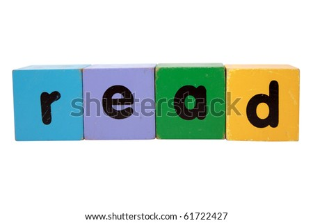 toy letters that spell read against a white background with clipping path - stock photo