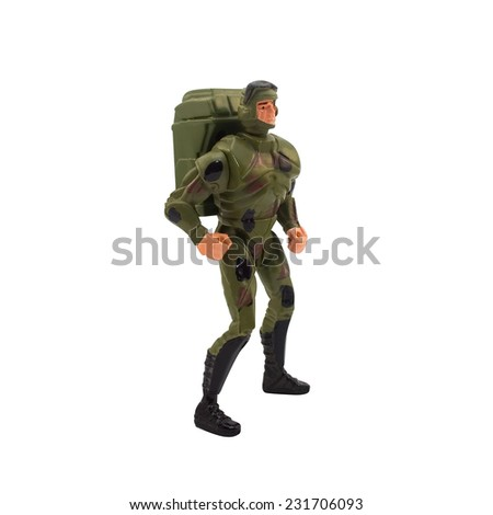 Toy marine soldier.Isolated marine plastic toy soldier standing in pose. - stock photo