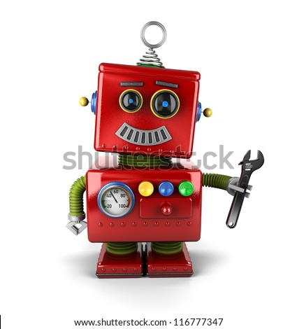 Toy mechanic robot holding a wrench over white background - stock photo