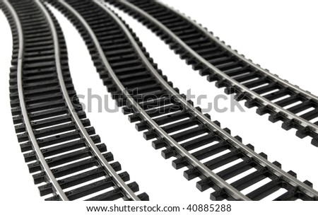 Toy Railroad Track on white background - stock photo