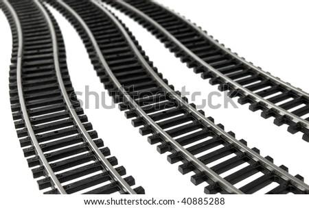 Toy Railroad Track on white background - stock photo