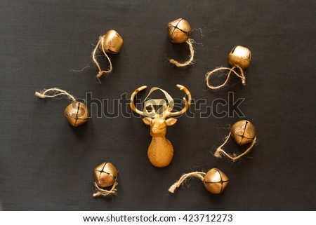 toy reindeer Christmas present child. Flat Lay. Top view. - stock photo