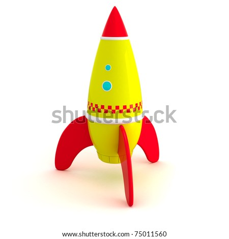 Toy rocket isolated - stock photo