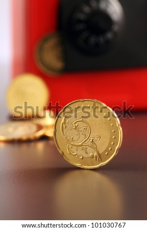 Toy Safe with Gold Coins - stock photo