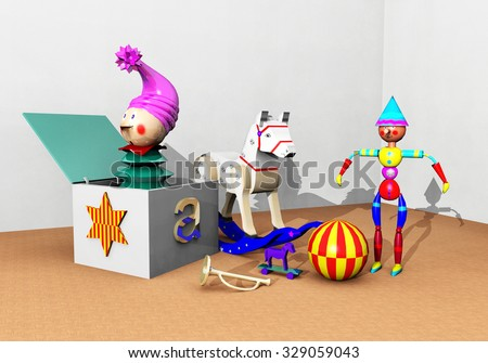 Toy selection Computer generated 3D illustration - stock photo