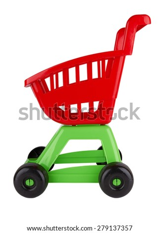 Toy shopping cart isolated on white background - stock photo
