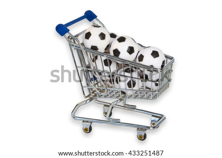 Toy Shopping Trolley with soccer balls isolated on white background - stock photo