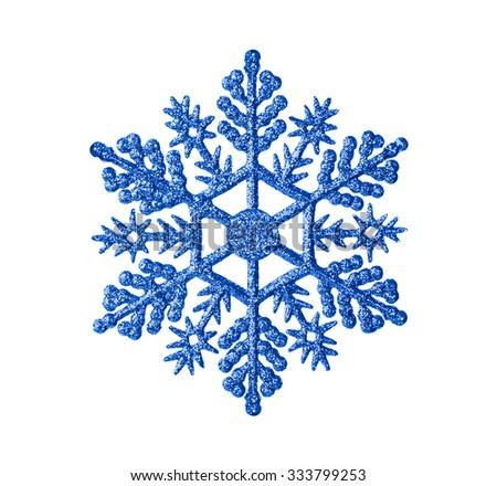 Toy snowflake - isolated on white background - stock photo