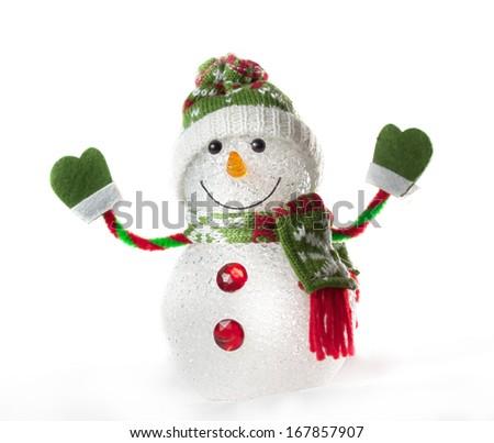 toy snowman on white background - stock photo