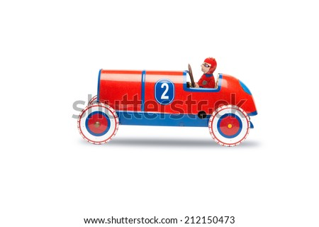 Toy Soap Box Derby Cars isolated on white, file includes a excellent clipping path - stock photo
