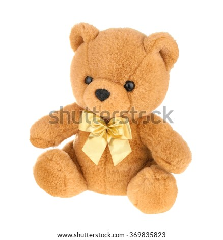 Toy teddy bear isolated on white, without shadow. - stock photo