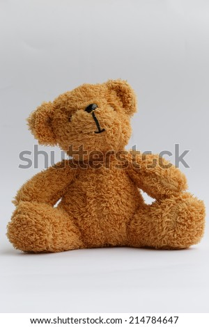 Toy teddy bear on white background - stock photo