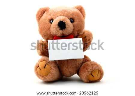 toy teddy bear with blank sheet isolated on white background - stock photo