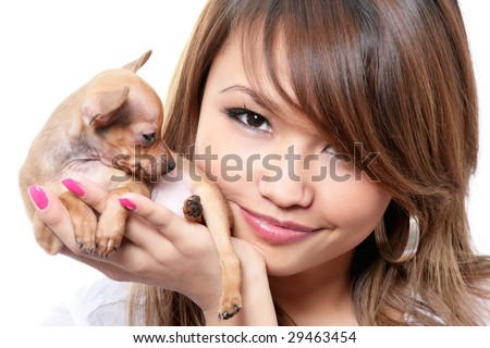 toy terrier puppy on hand of young woman isolated on white - stock photo