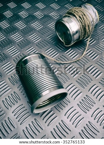 Toy tin can phones - stock photo