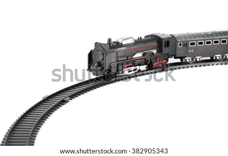 Toy train isolated on white background for fill text in space - stock photo