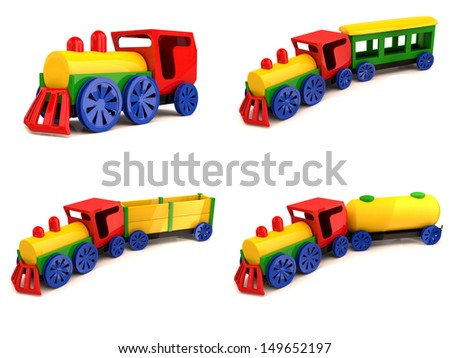 Toy train . Set of 3d models - stock photo