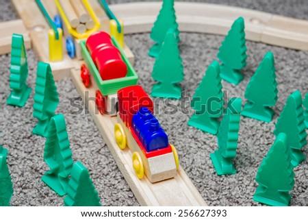 Toy train set railway tracks - stock photo