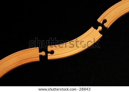 Toy train track - stock photo