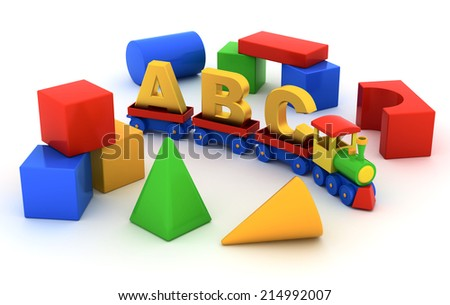 Toy train with carriages and toy blocks on white background - stock photo