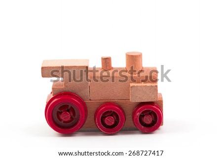 toy train wood on white background - stock photo