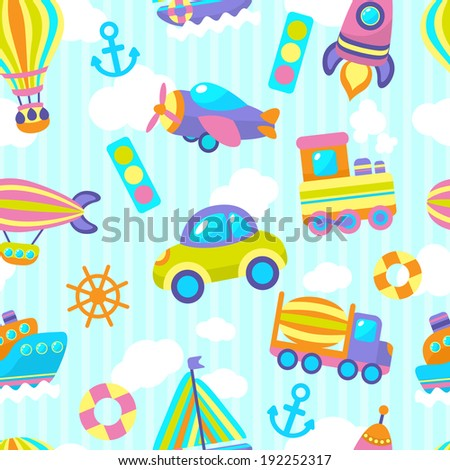 Toy transport cartoon seamless pattern with vehicles and clouds stripes on background  illustration - stock photo