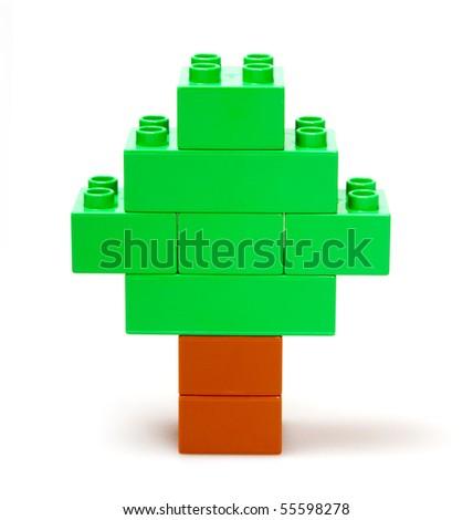 toy tree isolated on white - stock photo