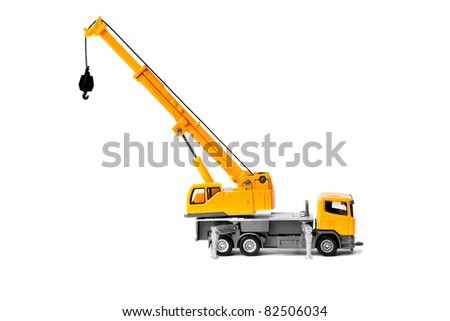 toy truck crane isolated over white backgroung - stock photo