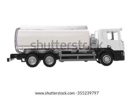 Toy, white truck with tank isolated on white background - stock photo