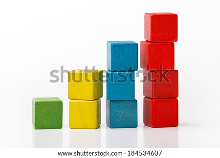 Toy wooden blocks as increasing graph bar, infographic diagram, chart over white background  - stock photo