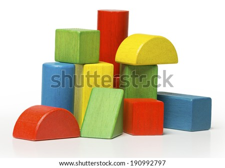 toy wooden blocks, multicolor building bricks isolated over white background - stock photo