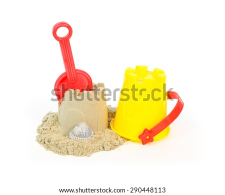 Toys for sand castles isolated on white - stock photo