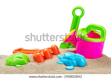 toys for sandbox isolated on white background - stock photo