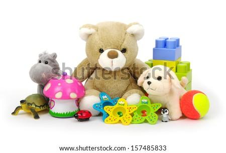 toys on white background  - stock photo