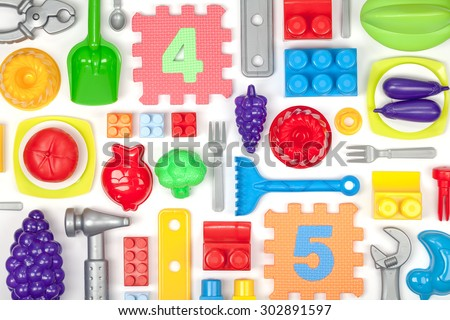 toys on white background - stock photo