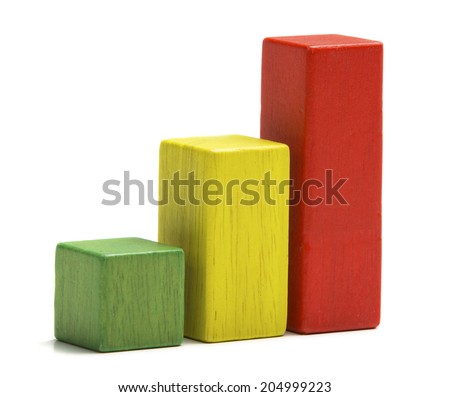 Toys wooden blocks as increasing graph bar, infographic diagram, chart over white background - stock photo