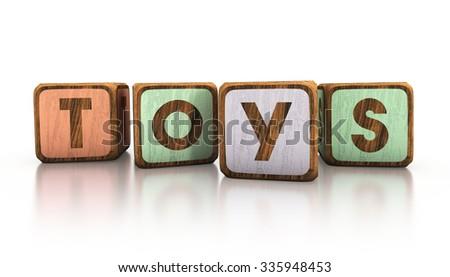toys wooden blocks. 3d illustration - stock photo