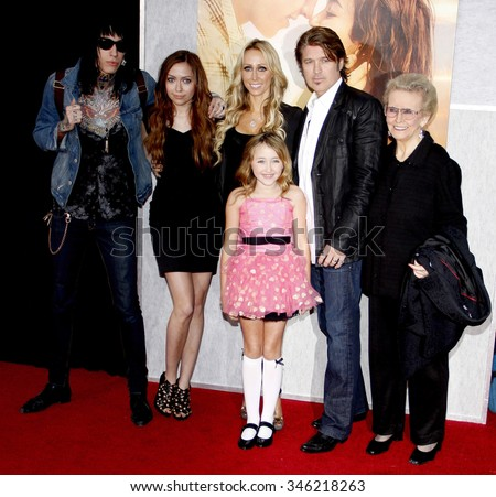 "Trace Cyrus, Brandi Cyrus, Noah Cyrus, Tish Cyrus, Billy Ray Cyrus and Loretta Finley at the World Premiere of ""The Last Song"" held at the ArcLight Cinemas in Hollywood, USA on March 25, 2010. - stock photo"
