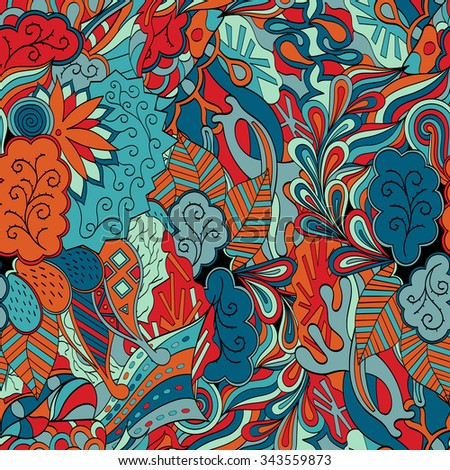 Tracery seamless calming pattern. Mehendi design. Neat even red blue harmonious doodle texture. Algae sea motif. Indifferent discreet. Ambitious bracing usable, curved doodling mehndi.  - stock photo