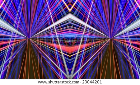 Traces of street  illumination. Symmetrical  montage. - stock photo